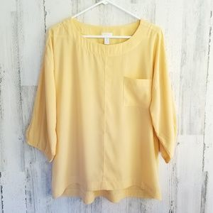 Chico's Yellow Relaxed Puffed Sleeves Top